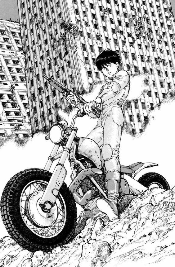 Kaneda mit Motorrad